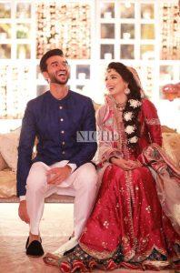 The beautiful couple Zainab Abbas and Hamza Kardar at their shendi