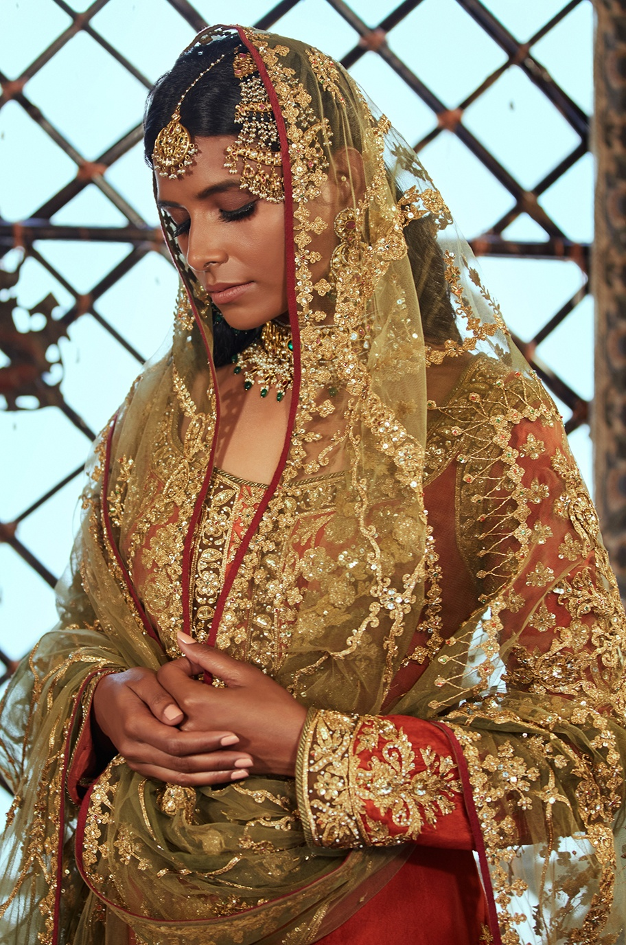Gold and red traditional wear
