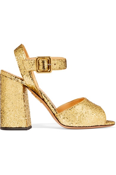 Charlotte Olympia- Emma Glittered Leather Sandals