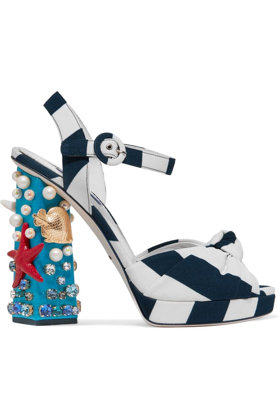DOLCE & GABBANA Embellished striped canvas sandals