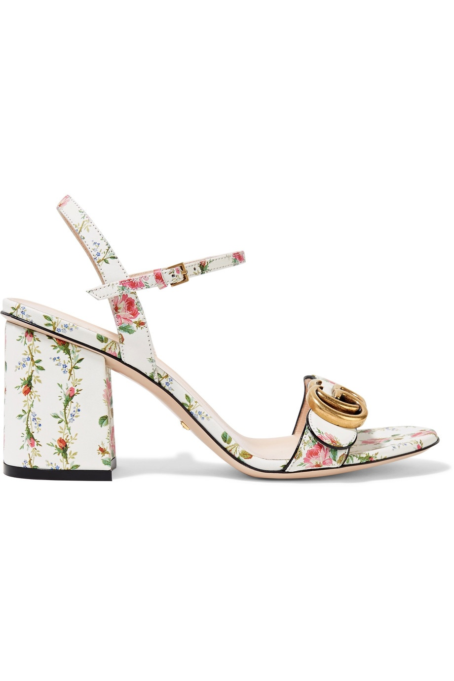 GUCCI Floral-print leather sandals