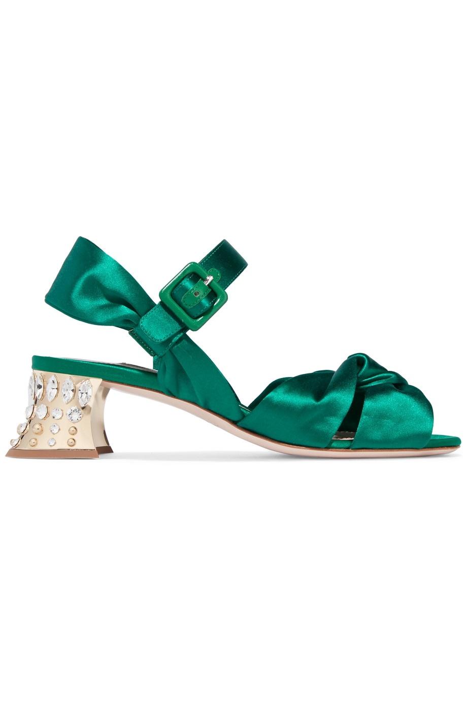 MIU MIU - Swarovski crystal-embellished satin sandals