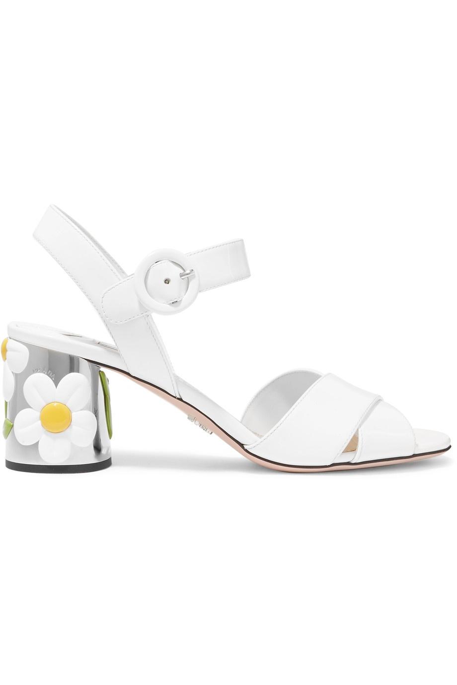 PRADA - Embellished patent-leather sandals