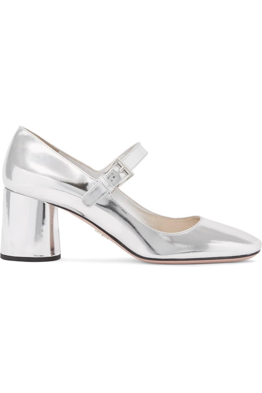 PRADA Metallic leather Mary Jane pumps