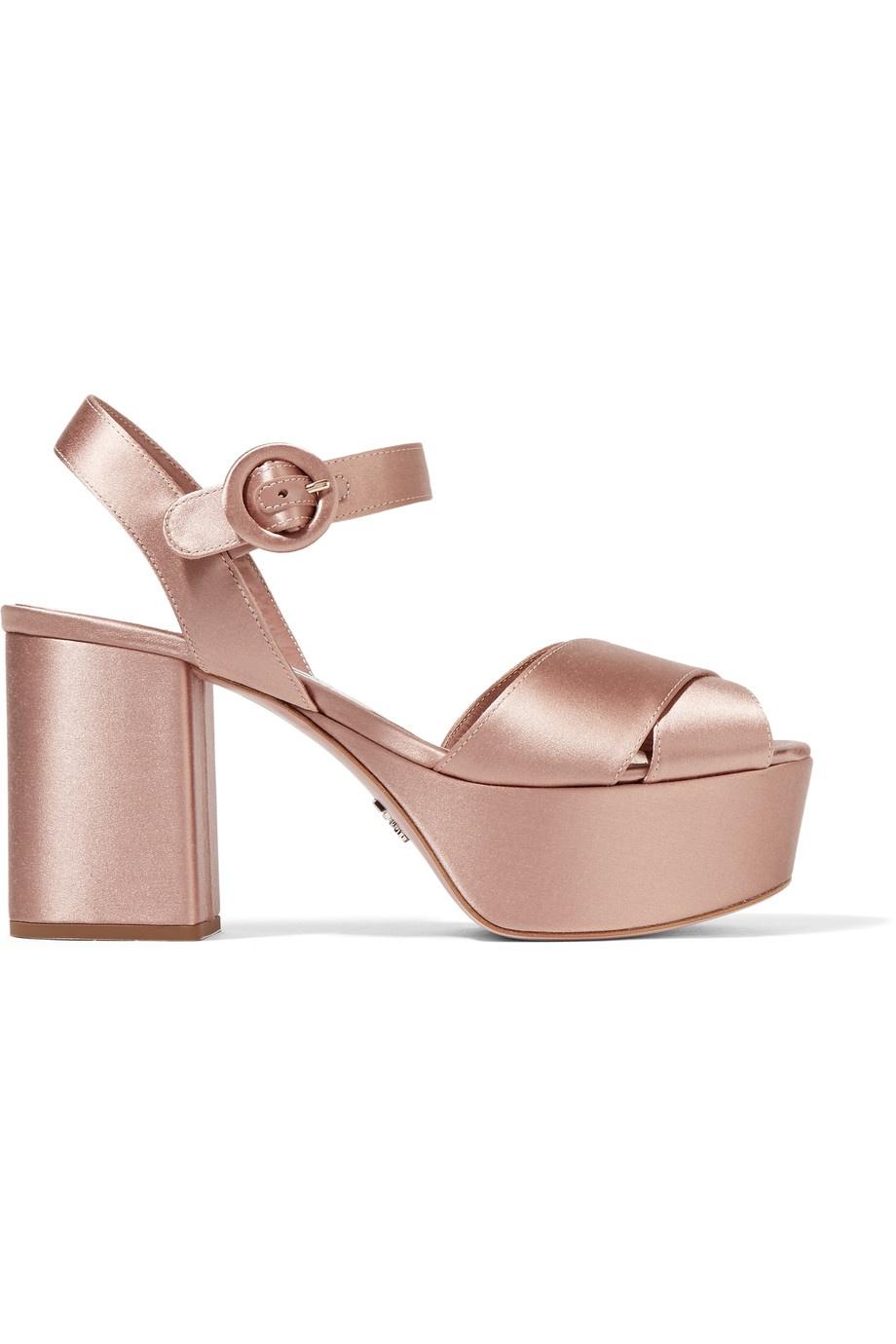 PRADA - Satin platform sandals